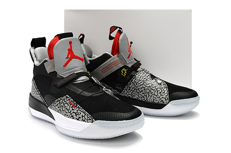 1ac44f91eb6bdc 2019 Men Jordan XXXIII Black Cement Grey Red Shoes