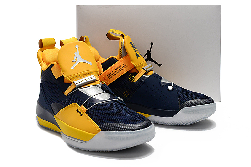 2019 Men Jordan XXXIII Deep Blue Yellow Shoes