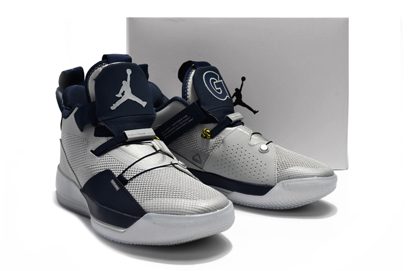 2019 Men Jordan XXXIII Grey Deep Blue Shoes