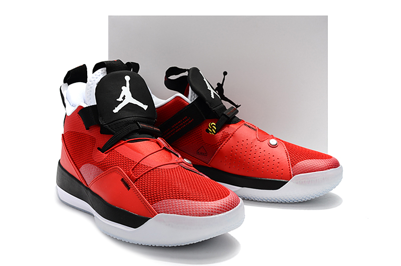 2019 Men Jordan XXXIII Red Black White Shoes