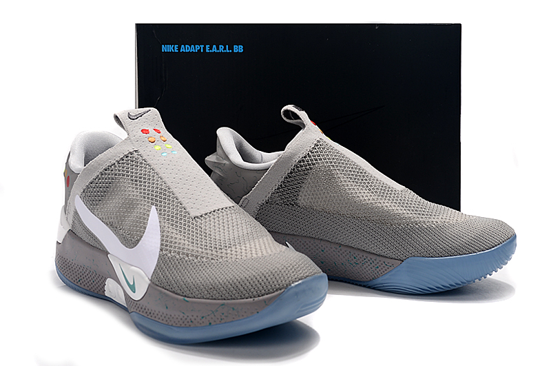 2019 Men Nike Adapt BB Grey White Blue Sole Shoes