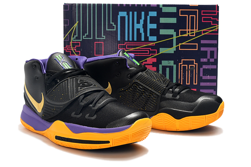 2019 Men Nike Kyrie Irving 6 Black Yellow Purple Shoes