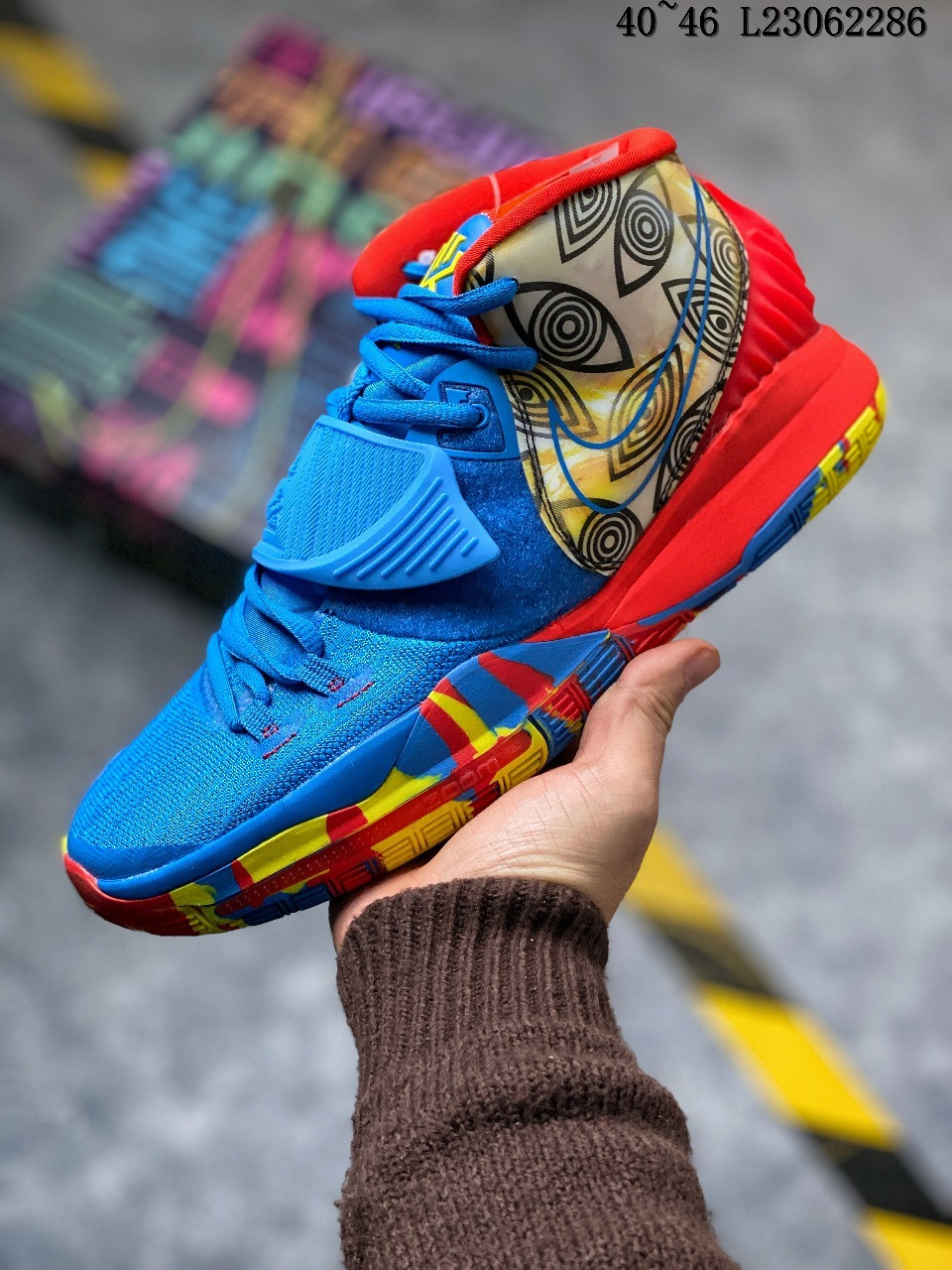2019 Men Nike Kyrie Irving 6 City Blue Red Yellow Shoes