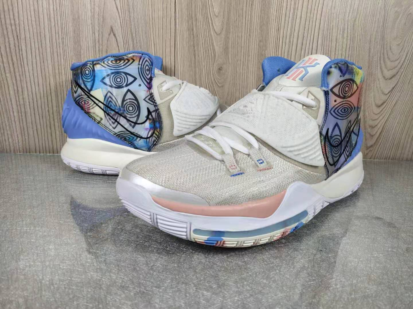 2019 Men Nike Kyrie Irving 6 Grey Blue Pink Shoes