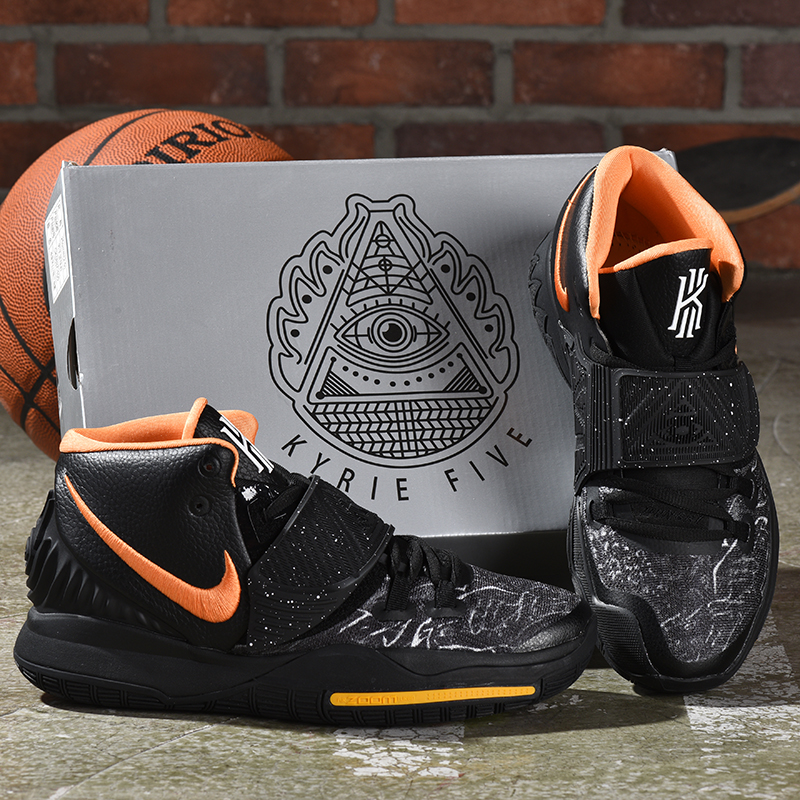 2019 Men Nike Kyrie Irving VI Black Orange Yellow Shoes
