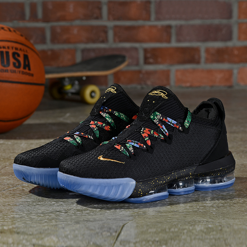2019 Men Nike LeBron James 16 Low Black Rainbow Shoes