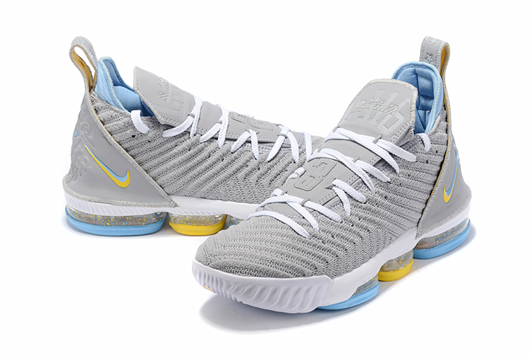 2019 Men Nike LeBron James 16 Low Grey Jade Yellow Shoes