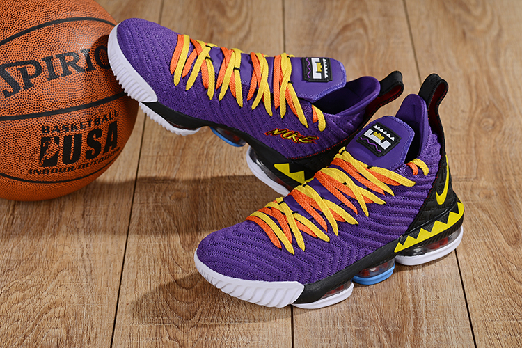2019 Men Nike LeBron James 16 Low Purple Yellow Black Shoes