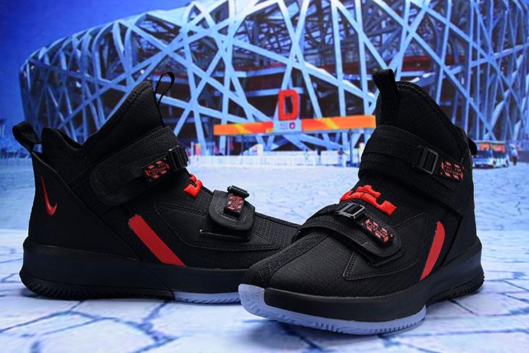 4dcd2faf4a6c 2019 Men Nike LeBron James Soldier 13 Black Red Shoes