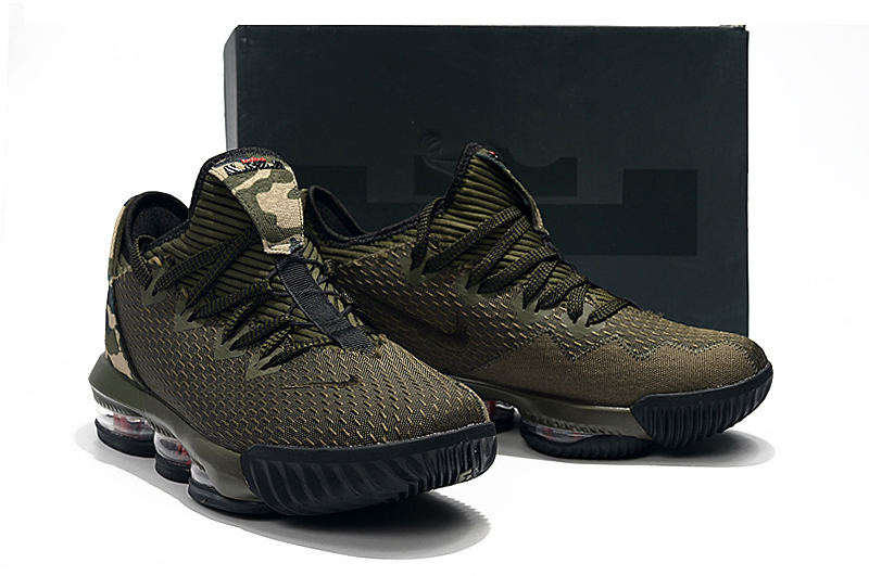 2019 Men Nike LeBron XVI Low Army Green Black Shoes