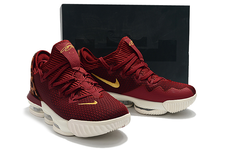 2019 Men Nike LeBron XVI Low Wine Red Yellow Leopard Shoes