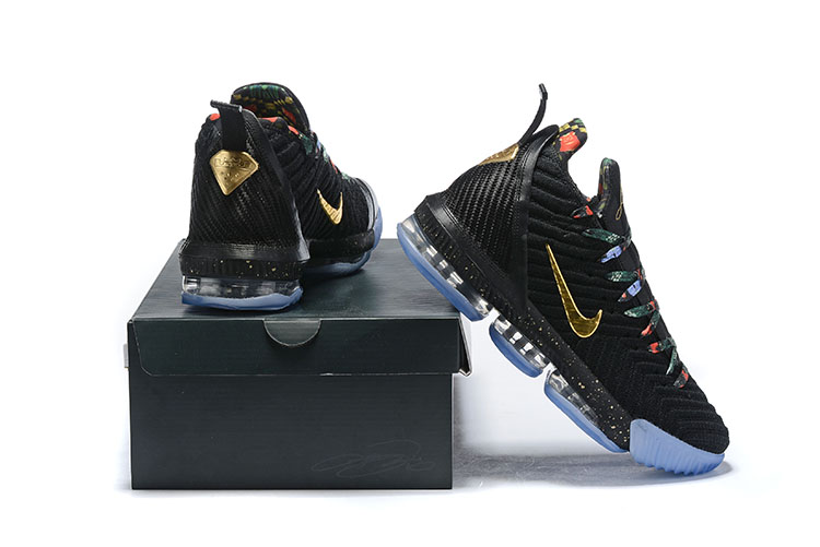 2019 Men Nike Lebron James 16 Black Gold Gamma Blue Shoes
