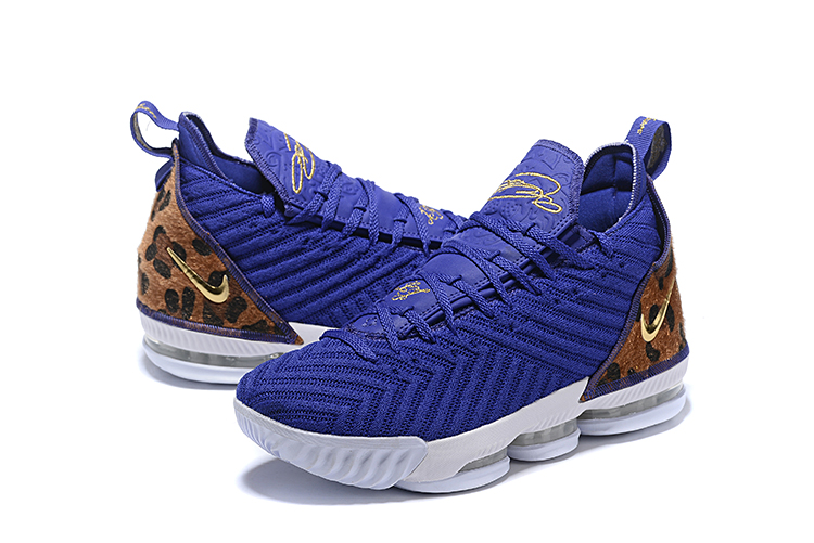 2019 Men Nike Lebron James 16 Blue Leopard Print Shoes