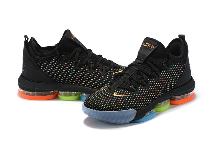 2019 Men Nike Lebron James 16 Low Black Blue Green Orange Shoes