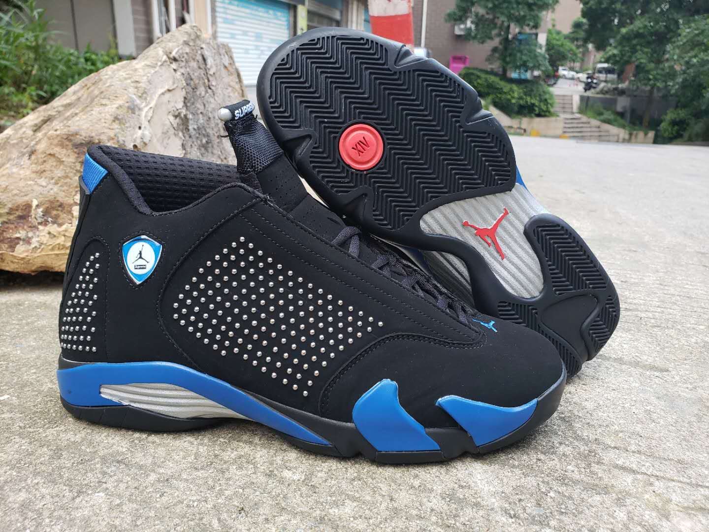 2019 Men Supreme x Air Jordan 14 Black Blue Shoes