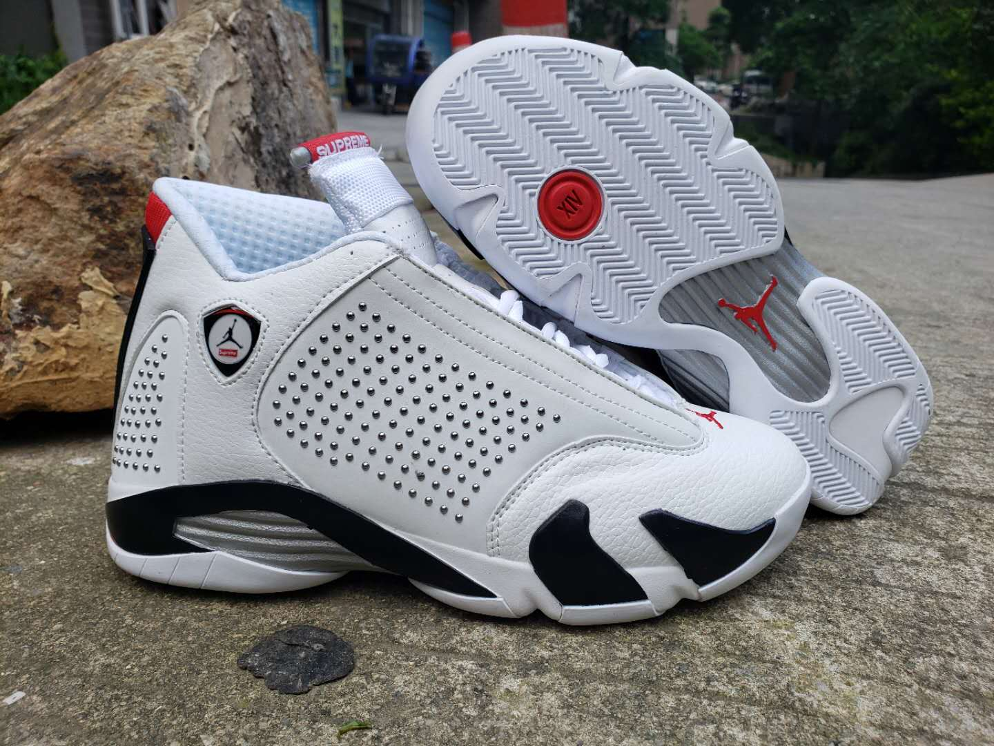 2019 Men Supreme x Air Jordan 14 White Black Red Shoes