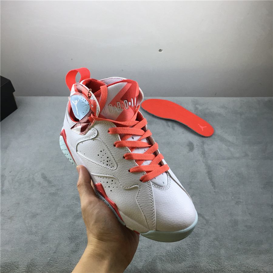 2019 Women Air Jordan 7 GS Topaz Mist White Orange Shoes