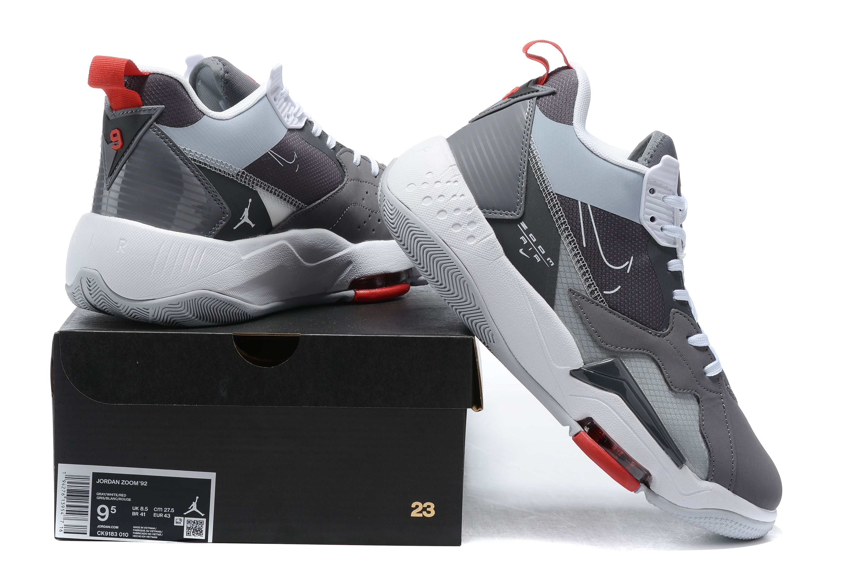2020 Air Jordan Zoom 92 Grey White Red Shoes