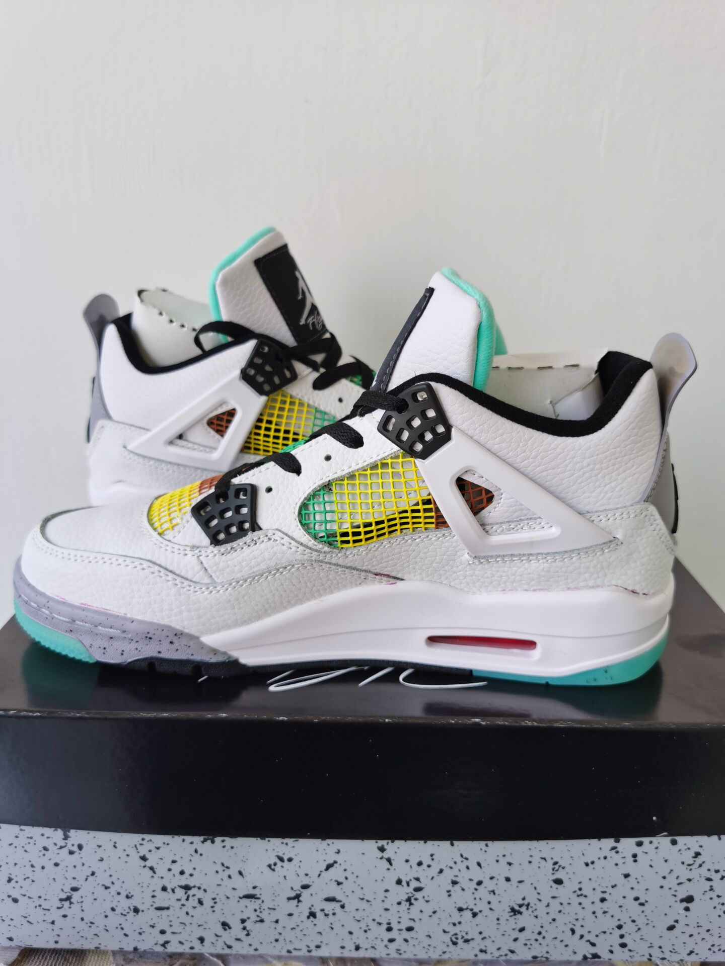 2020 Air Jordan 4 Carnival White Black Colorful Shoes For Women