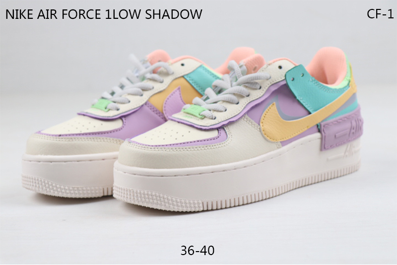 2020 Nike Air Force I Low Shadow White Purple Yellow Shoes For Women
