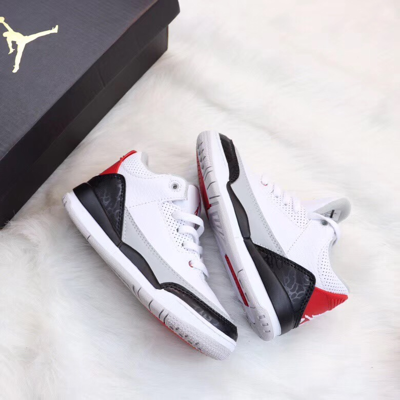 Air Jordan 3 White Black Red For Kids