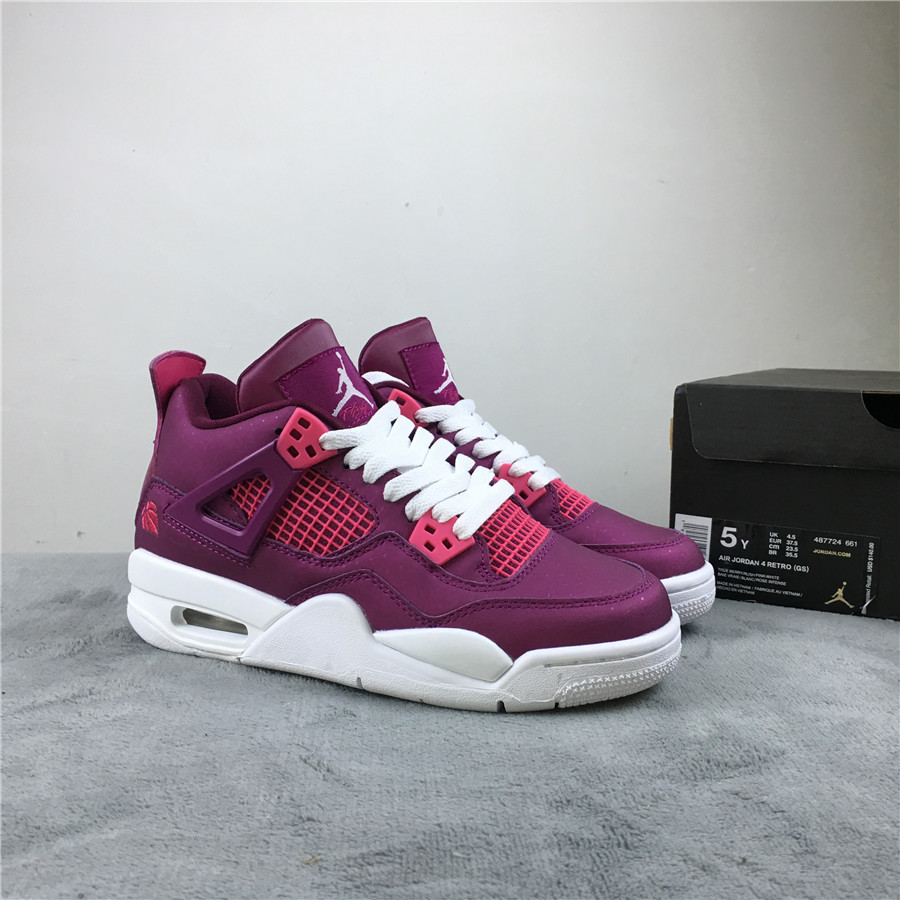 Air Jordan 4 Valentine Day's Purple White Shoes