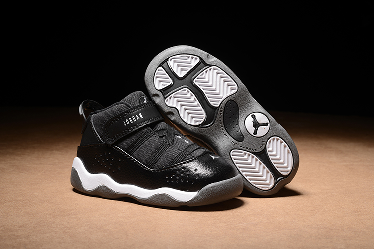 Air Jordan 6 Rings Black Shoes For Toddler