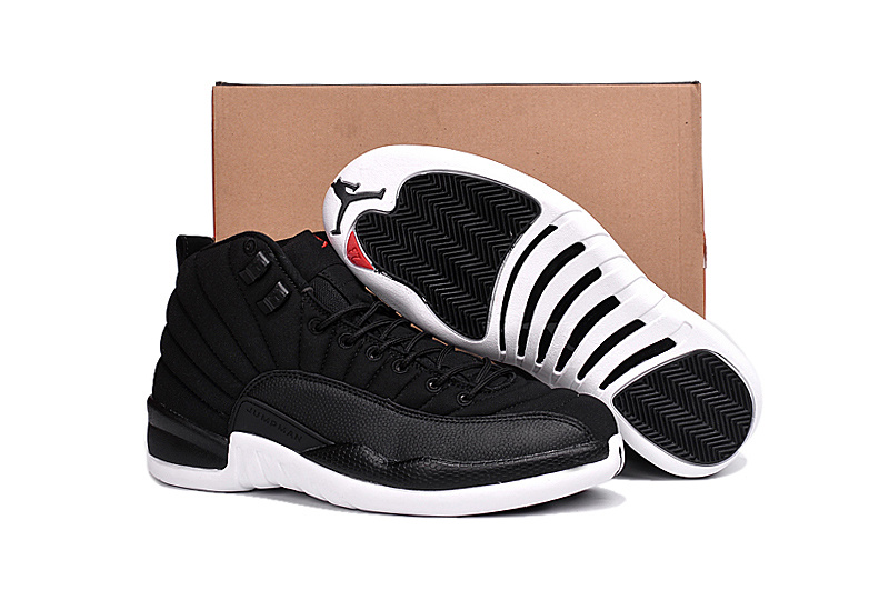 Air Jordan 12 Black Nylon Black White Gym Red