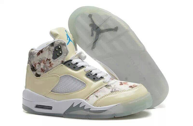 ec7e98e2f3c0 Air Jordan 5 Sakura Creamy White Women Shoes