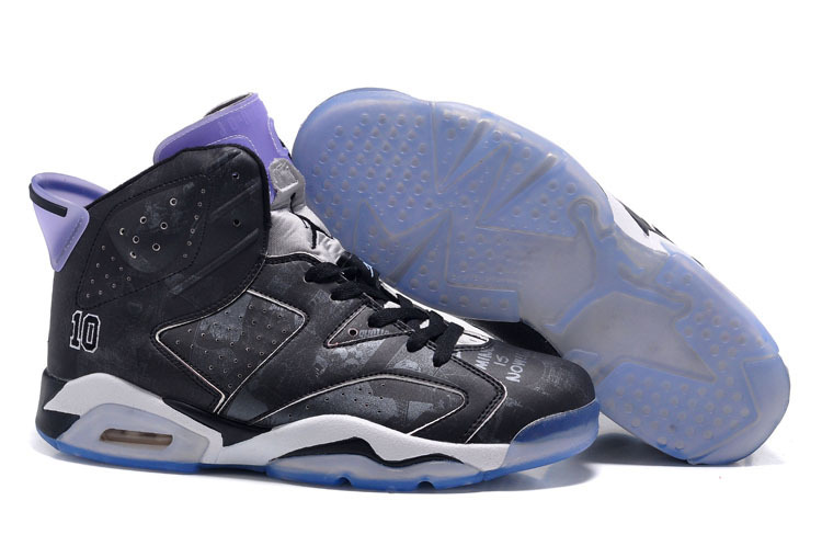 Women Air Jordan 6 Slam Dunk Black Purple Retro Shoes