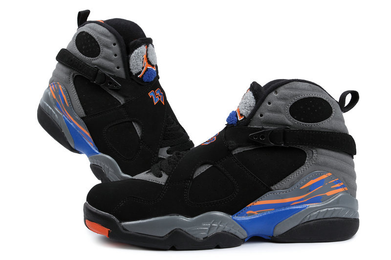 Air Jordan 8 Retro Black Grey Blue Shoes