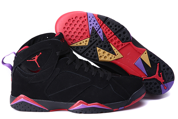 Big Size Air Jordan 7 Black Red Purple Shoes