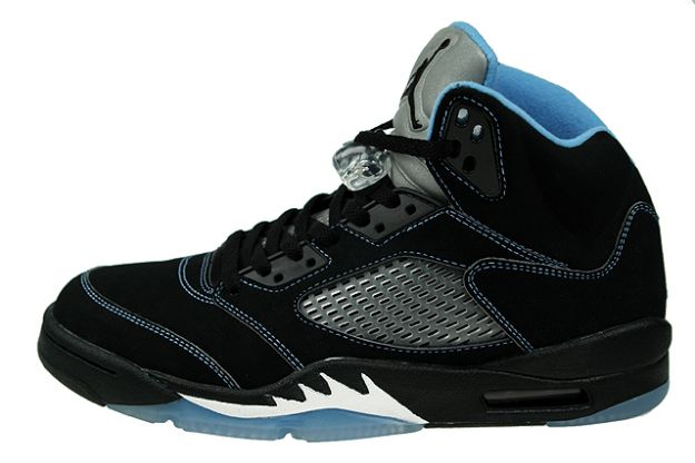 Cheap Real Air Jordan 5 Retro ls Black University Blue Fire White Shoes