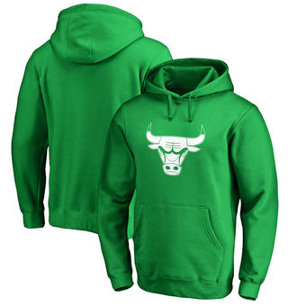 Chicago Bulls Fanatics Branded St. Patrick's Day White Logo Pullover Hoodie - Kelly Green