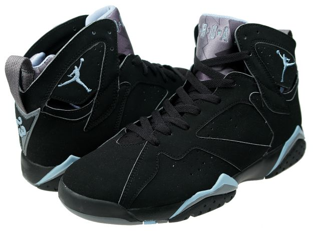 Classic Air Jordan 7 Retro Black Chambray Light Graphite Shoes