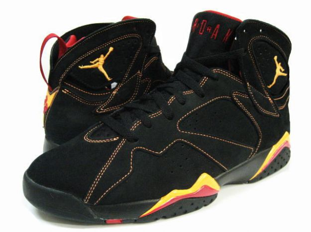 Classic Air Jordan 7 Retro Black Citrus Varsity Red Yellow Shoes