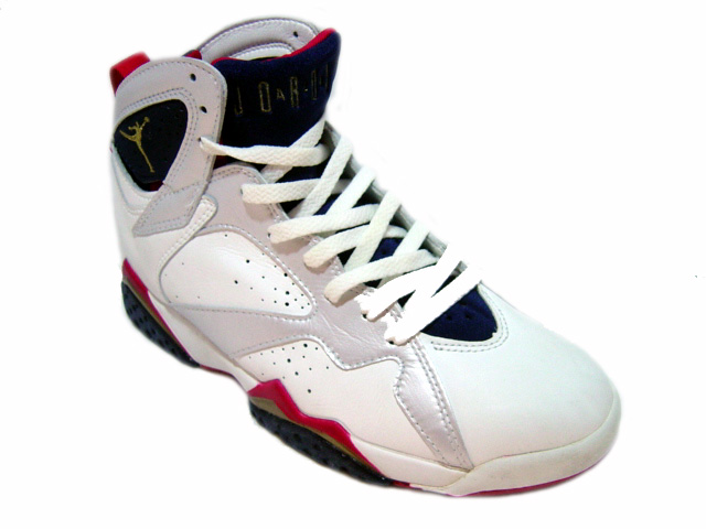 Classic Air Jordan 7 og Olympics White Midnight Navy True Red Shoes