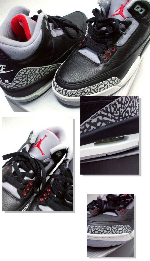 Classic Michael Jordan 3 Retro 2001 Black Cement Grey Red Shoes