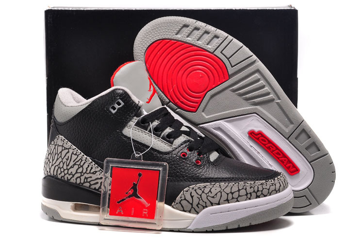 Classic Womens Air Jordan 3 Black Cement Grey Red Shoes