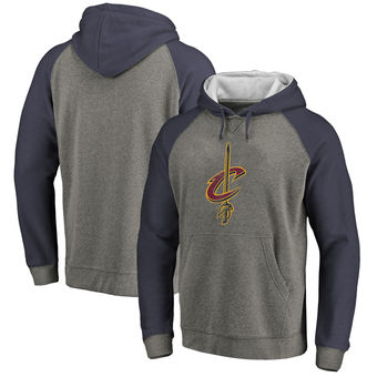 Cleveland Cavaliers Fanatics Branded Distressed Logo Tri-Blend Big & Tall Pullover Hoodie - Ash Navy