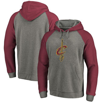Cleveland Cavaliers Fanatics Branded Distressed Logo Tri-Blend Pullover Hoodie - Ash Wine