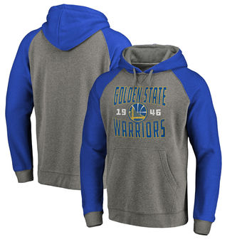 Golden State Warriors Fanatics Branded Antique Stack Big & Tall Tri-Blend Raglan Pullover Hoodie - Ash