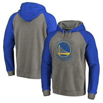 Golden State Warriors Fanatics Branded Distressed Logo Tri-Blend Pullover Hoodie - Ash Royal