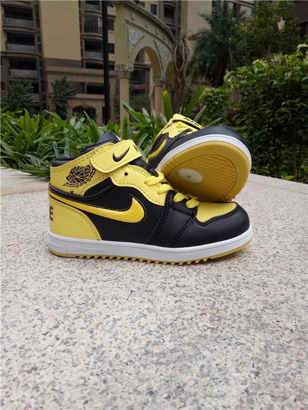 best value 0b0aa 2badf Kids Air Jordan 1 Strap Yellow Black Shoes [WOMEN2523 ...