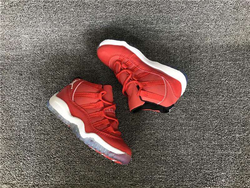 Kids Air Jordan 11 All Red White Shoes