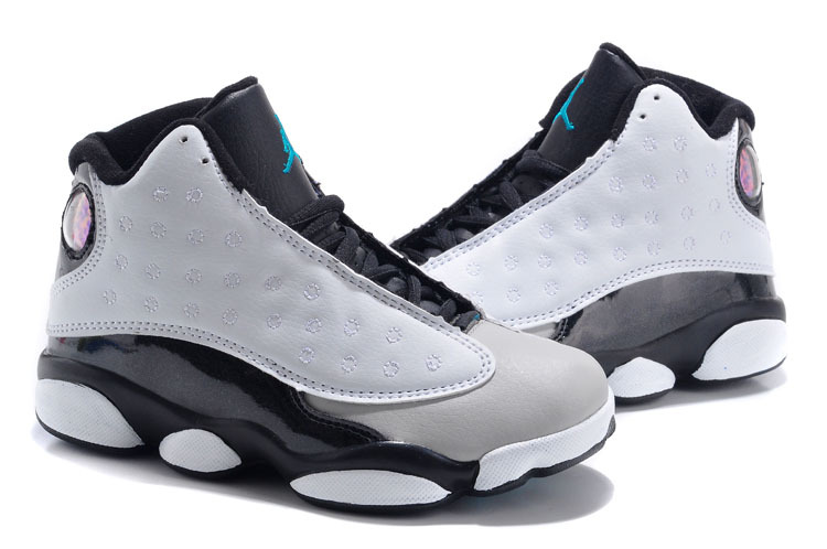 1eac1dc3b588 Kids Air Jordan 13 Retro Grey Black Shoes