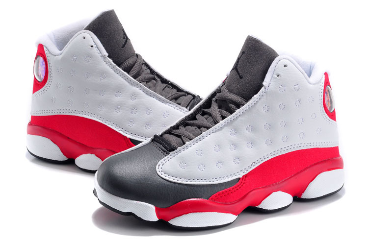 5ae752b8265 Real Kids Air Jordan 13 Retro White Grey Red Shoes On Cheap Sale