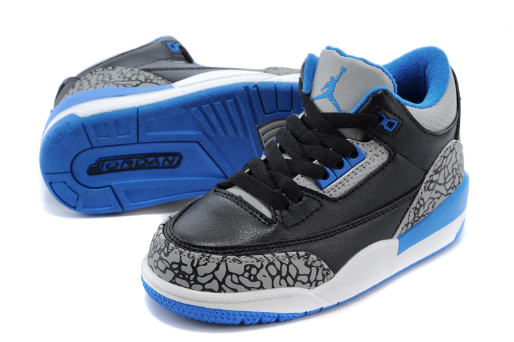 Kids Air Jordan 3 Retro Black Cement Grey Blue Shoes