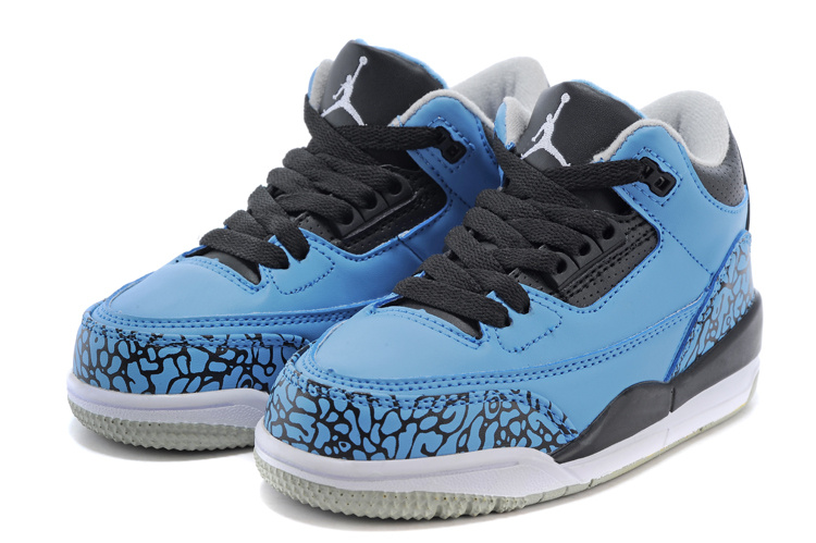 Kids Air Jordan 3 Retro Blue Black White Shoes