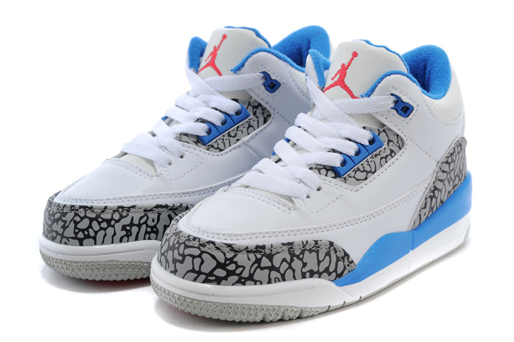 the best attitude 1b73f c4c63 Sale Kids Air Jordan 3 Retro White Cement Grey Baby Blue ...